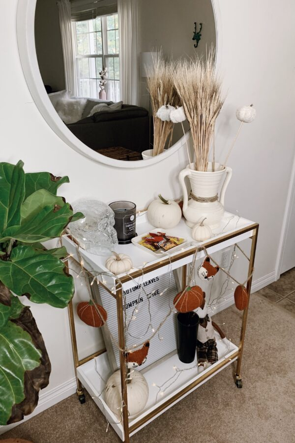 how to style a halloween bar cart