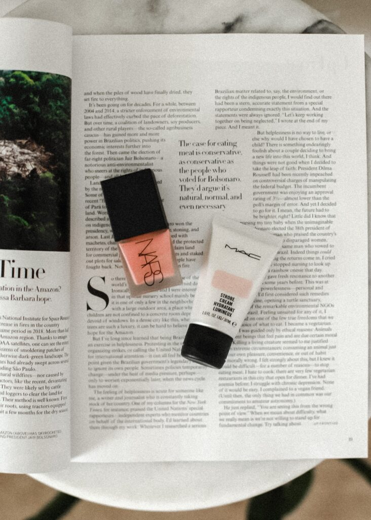 how to get a healthy glow and review of Nars liquid blush and Mac Strobe Cream.