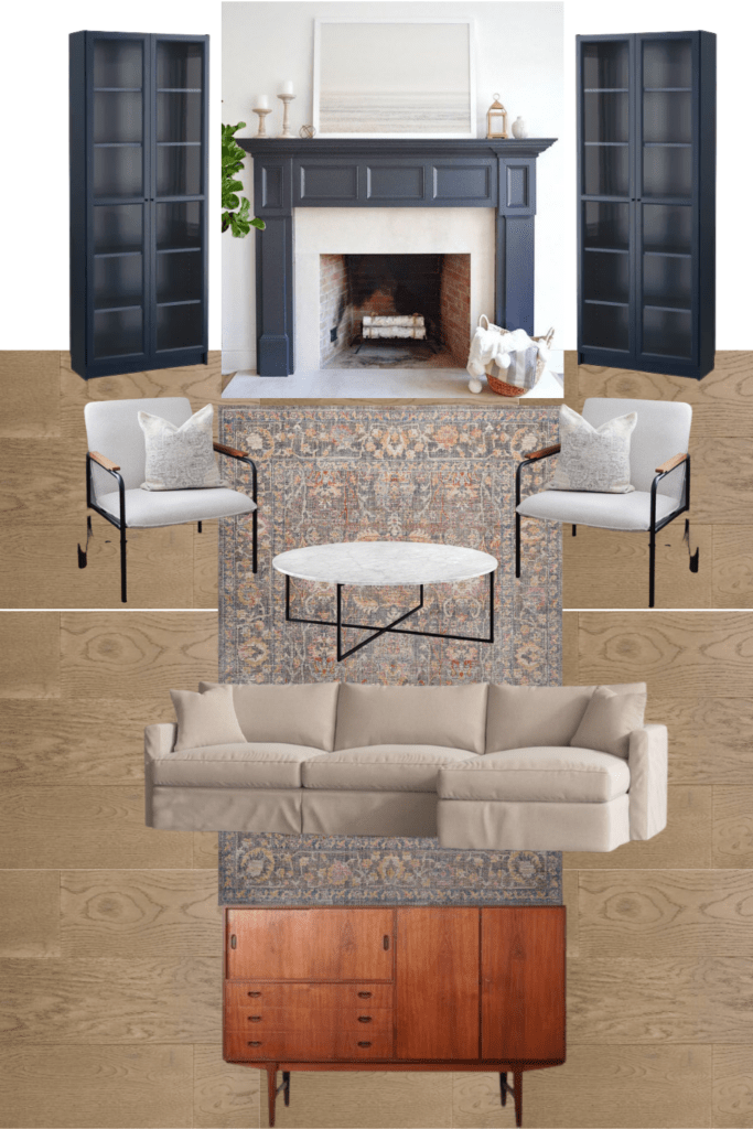 the mood board and design for our new living room