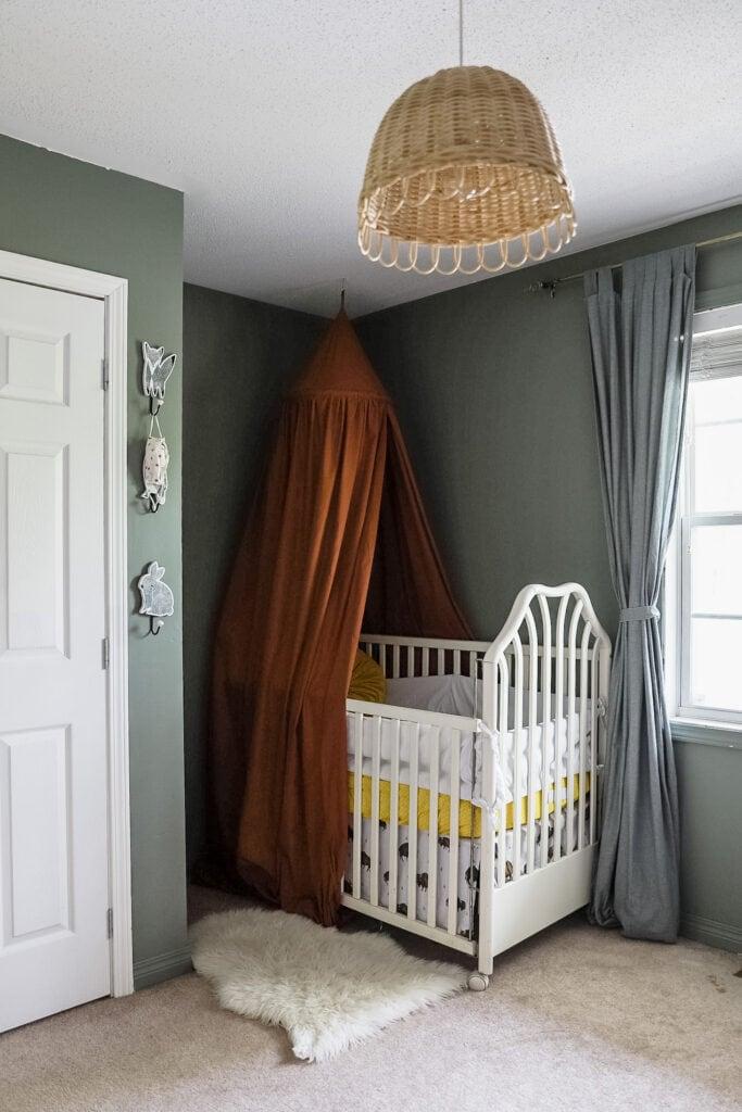 moody green nursery nook